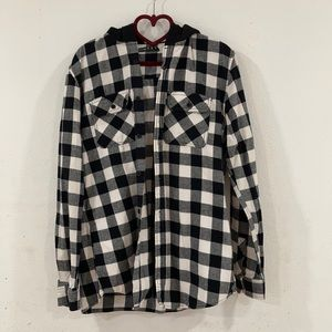 black & white plaid hooded flannel